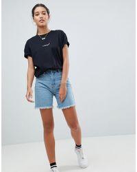 Missguided - Longline Denim Shorts - Lyst