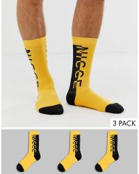 Nicce London 3 Pack Sport Socks In Yellow With Logo