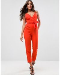ASOS - Design Wrap Front Jumpsuit With Peg Leg And Self Belt - Lyst