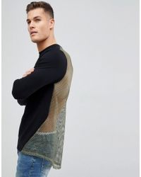 ASOS - Design Muscle Longline Sweatshirt In Black With Mesh Back - Lyst