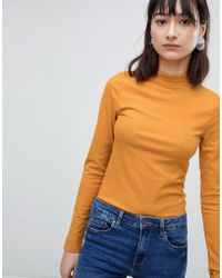 Pieces - Ribbed High Neck Long Sleeved Top - Lyst