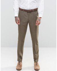 ASOS - Asos Slim Suit Trousers In Brown Tweed - Lyst