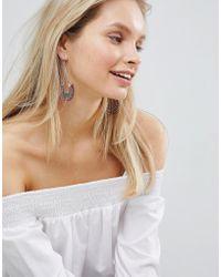 South Beach - Silver Drop Statement Earrings - Lyst