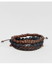 ASOS | Leather And Beaded Bracelet Pack In Black And Brown | Lyst