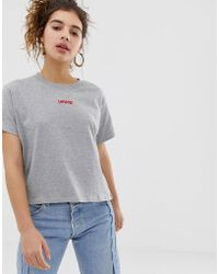 58978e96d62a5 Levi s - Levi s Cropped T-shirt With Embroidered Logo - Lyst