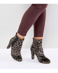 Wide Fit Leopard Print Heeled Ankle Boots - Multi River Island 912Lx