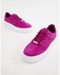 buy popular 6f9cb 4633e Nike - Berry Air Force 1 Sage Trainers - Lyst