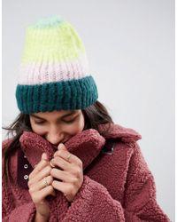 ASOS - Fluffy Beanie In Stripe - Lyst