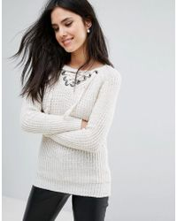 Love - V Neck Lace Front Sweater - Lyst