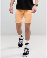 ASOS - Denim Shorts In Super Skinny Orange - Lyst