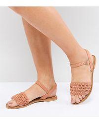 f289aaea3fe2 Asos Flourish Wide Fit Leather Embellished Flat Sandals in Metallic ...