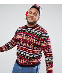 ASOS - Plus Christmas Jumper With Festive Design In Navy - Lyst