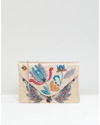 Park Lane - Embroidered Clutch Bag With Optional Shoulder Strap - Lyst 84c749720b246