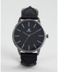 ASOS - Watch With Black Leather Plaited Strap And Burnished Silver Case - Lyst
