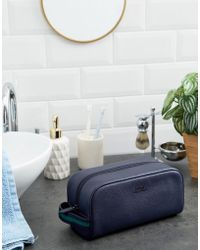 Polo Ralph Lauren - Pebbled Leather Wash Bag In Navy - Lyst