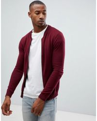 ASOS - Asos Knitted Bomber In Burgundy - Lyst
