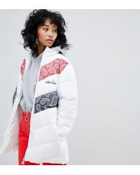 Ellesse - Padded Jacket With Embroidered Chest Logo And Contrast Paisley Panels - Lyst