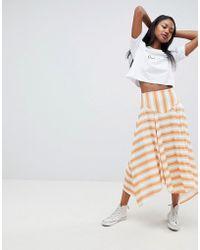ASOS - Yellow Stripe Hanky Hem Midi Skirt - Lyst