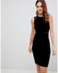 French Connection - Viven Velvet Panel Bodycon Dress - Lyst