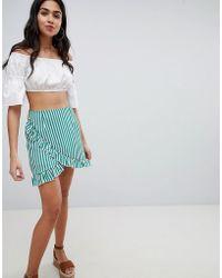 Missguided - Striped Frill Mini Skirt - Lyst