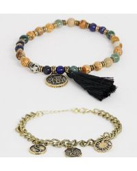 Reclaimed (vintage) - Inspired Bracelet Pack In Semi Precious Stone Exclusive To Asos - Lyst