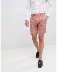 ASOS - Slim Mid Length Smart Shorts In Dusky Pink Cotton Sateen - Lyst