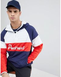 Penfield - Block Overhead Hooded Jacket Front Logo In Navy/white/red - Lyst