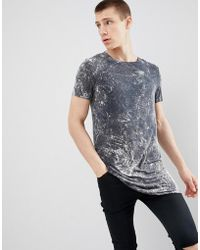 ASOS - Design Super Longline T-shirt With Curved Hem In Gray Bleach Wash - Lyst