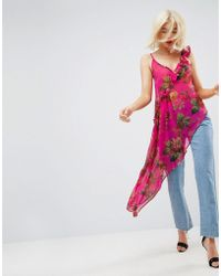 ASOS   Asymmetric Cami With Ruffle In Bright Pink Floral   Lyst