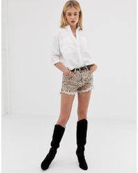 One Teaspoon - Outlaws Low Waist Raw Hem Short In Leopard Print - Lyst