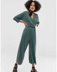 Monki - Jersey Jumpsuit In Green - Lyst