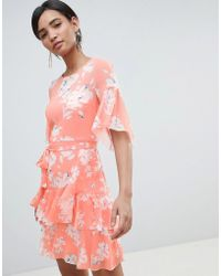 French Connection - Alba Tie Waist Ruffle Dress - Lyst