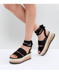 Lost Ink - Black Ankle Tie Flatform Sandals - Lyst