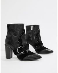 Bronx - Black Leather Studded Heeled Ankle Boots - Lyst
