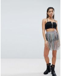 Jaded London - Hot Trousers With Rhinestone Belt Detail - Lyst