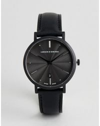 Larsson & Jennings - Aurora Leather Watch In Black 38mm - Lyst