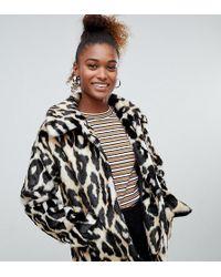 Monki - Faux Fur Leopard Print Jacket In Brown - Lyst