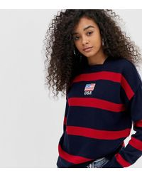 Daisy Street - Jumper With Usa Embroidery In Contrast Stripe - Lyst