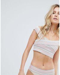 PrettyLittleThing - Cross Front Bandage Stitch Bikini Top - Lyst