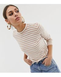 NA-KD - Long Sleeve Top In Stripe Beige And White - Lyst