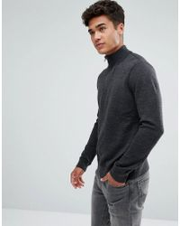 Abercrombie & Fitch - Shawl Knit Jumper In Charcoal - Lyst