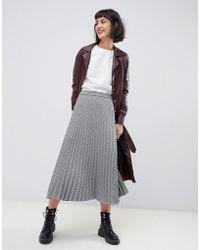 MAX&Co. - Gingham Pleated Midi Skirt - Lyst