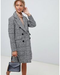 New Look - Double Breasted Coat In Check - Lyst