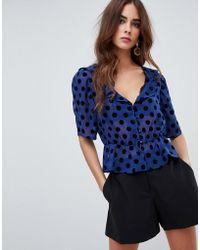 Fashion Union - Short Sleeve Top In Polka - Lyst