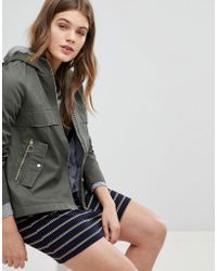 Esprit - Canvas Zip Jacket With Hood - Lyst