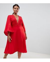 John Zack - Lace Top Midi Skater Dress With Cape Detail In Red - Lyst