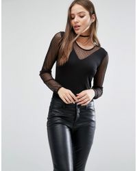 SELECTED - Femme Runa Mesh Body With Long Sleeves - Lyst