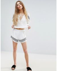 First & I - Embroidered Shorts - Lyst