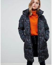 ONLY - Padded Camo Hooded Jacket - Lyst
