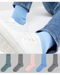 ASOS | Design Waffle Socks In Colours 5 Pack | Lyst